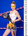 Pretty, slim builder girl in white shirt, builder 38315213