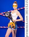 Pretty, slim builder girl in white shirt, builder 38315215