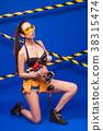 Attractive sexy builder girl in black bikini 38315474