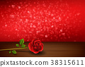 Valentines day background with roses above wooden  38315611