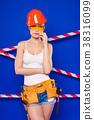 Attractive builder woman in white shirt, builder 38316099