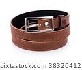 Leather belt isolated on white background 38320412