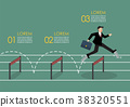 man with elastic spring shoes jumping over hurdle 38320551