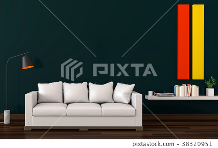 3D rendering of interior modern living room  38320951