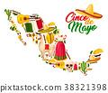 Mexican map with Cinco de Mayo holiday symbols 38321398