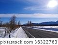 겨울의 오쿠 닛코 센 조가하라를 관철 일본 로맨틱 가도 d-2 평원 직선 태양 광선 노면 전파 38322763