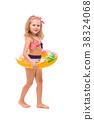 Beautiful little girl in red striped bikini, blue 38324068