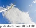 Wind power generating stations in the park 38324101