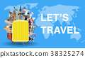 let's travel with luggage bag and world landmark 38325274