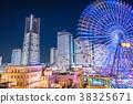 """""""神奈川县""""横滨Minatomirai,整栋建筑照亮了夜景 38325671"""