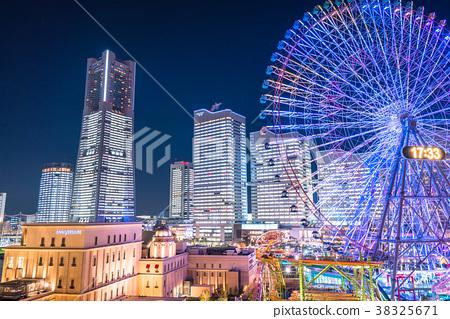 """""""가나가와 현""""요코하마 미나토 미라이 · 중앙 라이트 업 야경 38325671"""