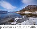 겨울의 주젠지 호 동쪽 호숫가에서 호수의 눈과 얼 해안 초광각 b 난타 38325802