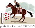 Horse and rider during a jumping competition 38326615