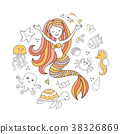 Cute little mermaid and sea animals. Under the sea 38326869