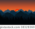 Nature background of mountains.  38328360