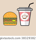 Hamburger and red paper cup drink. 38329382