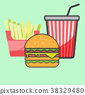 French fries and Hamburger and  paper cup drink. 38329480
