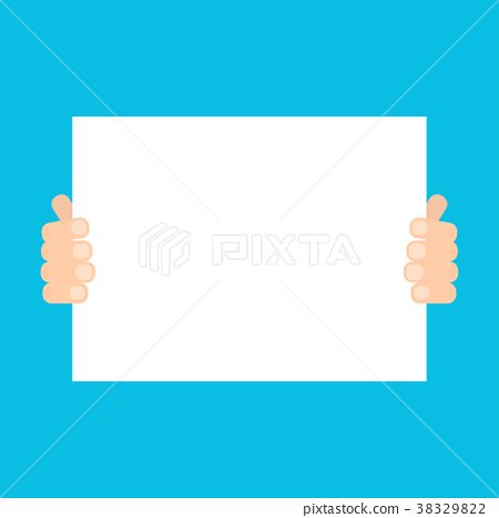 Two hands holding paper banner 38329822