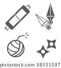 쿠나이 두루마리 수리검 폭탄 닌자 도구 무기 소품 소품 일러스트 아이콘 38331597