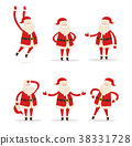 Set of Santa Clauses in Different Pose Vector Icon 38331728