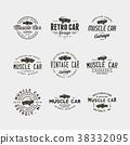 set of vintage muscle car garage logos 38332095
