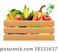 wooden box with fresh healthy vegetables vector 38333637