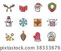 christmas, icon, vector 38333676