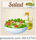 Fresh salad with olive oil. Detailed Vector Icon 38333703