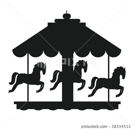 Rotating Horses Merry-Go-Round Carousel Black Icon 38334513