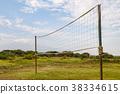 Handball net in the countryside facing Kilimanjaro 38334615