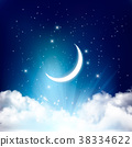 Night sky background with with crescent moon 38334622