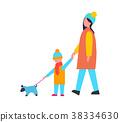 Family Walking Dog Activity Vector Illustration 38334630