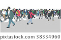 Illustration of large urban crowd crossing zebra 38334960