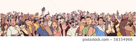 Illustration of large festival crowd at concert 38334966