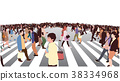 Illustration of city crowd crossing zebra in color 38334968