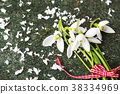 Fresh snowdrops buquet on stone background 38334969