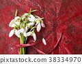 Fresh snowdrops buquet on red background 38334970