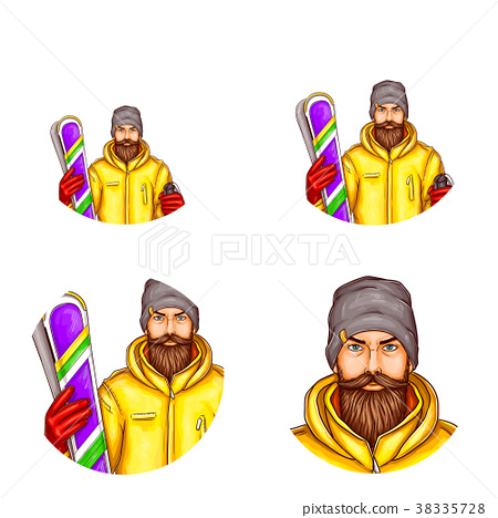 Vector pop art avatar of snowboarder, icon of 38335728