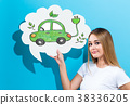 Electric Car with woman holding a speech bubble 38336205