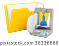 Computer folder icon with 3D printer, 3D rendering 38336686