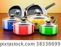 Set of colored cooking kitchen utensils 38336699