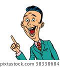 enthusiastic joyful businessman points finger 38338684