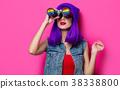 Girl with purple hair and with binoculars 38338800