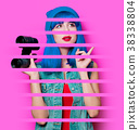 hipster girl with blue hair and binoculars 38338804