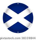 round metallic flag of Scotland with screw holes 38339844
