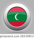Flag of Maldives. Metal gray round button. 38339853