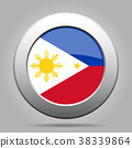 Flag of Philippines. Metal gray round button. 38339864