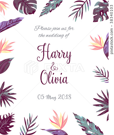 Invitation Template With Tropical Leaves Stock Illustration 38340103 Pixta To get more templates about posters,flyers,brochures,card,mockup,logo,video,sound,ppt,word,please visit pikbest.com. pixta