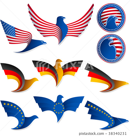 Bird Fly Flag Sign Medal United States Germany EU 38340231