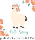 Vector Illustration. Hello spring alpaca 38341152